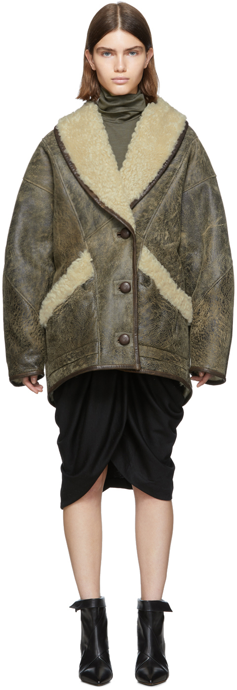 Isabel Marant Coats Brown Shearling Audrina Coat