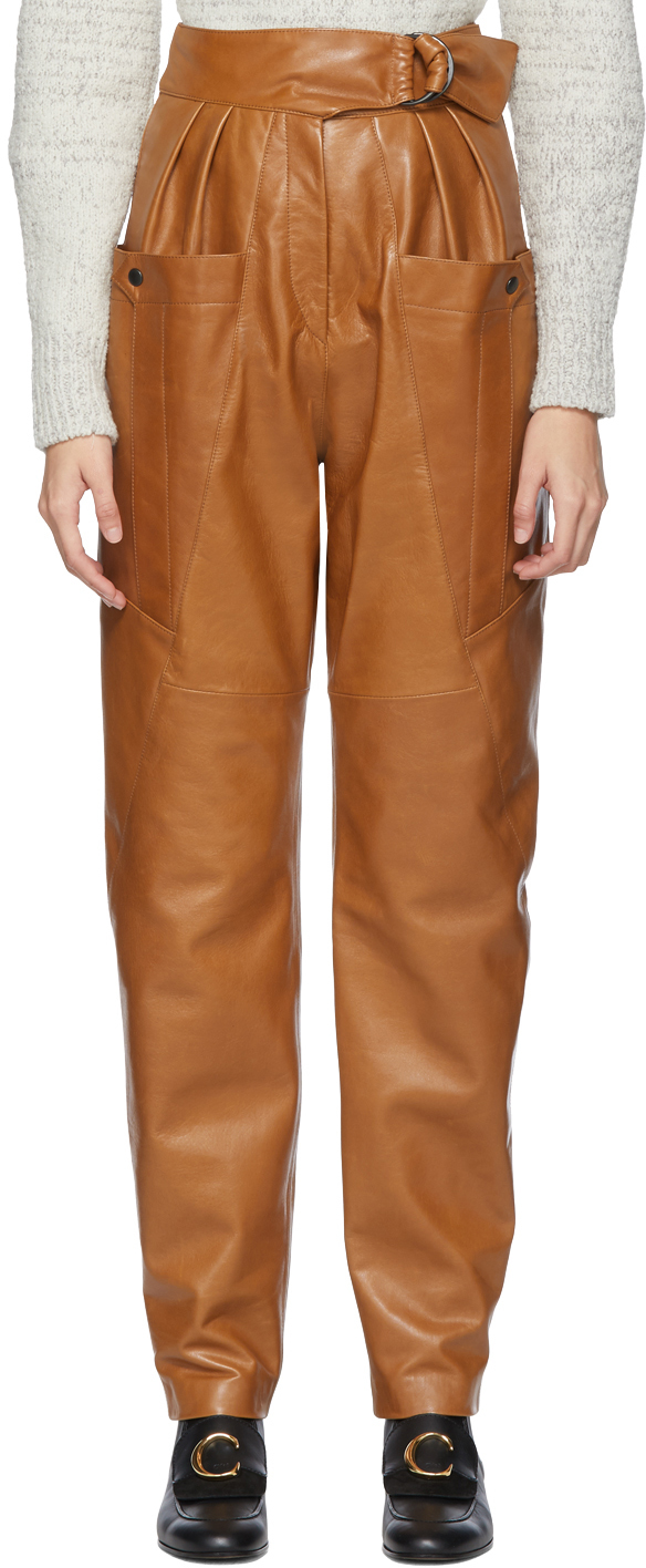 Isabel Marant Pants Brown Leather Ferris Trousers