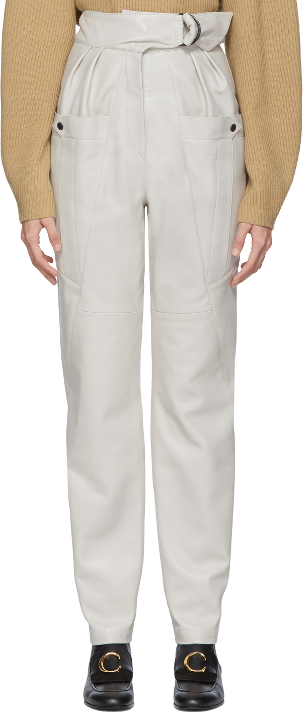 Isabel Marant Pants White Leather Ferris Trousers