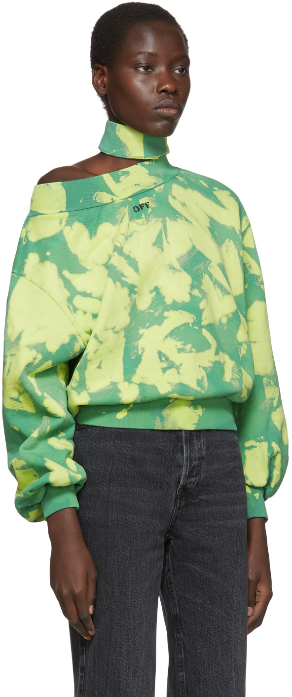 Off-White T-shirts Green Tie-Dye Trashed Sweatshirt