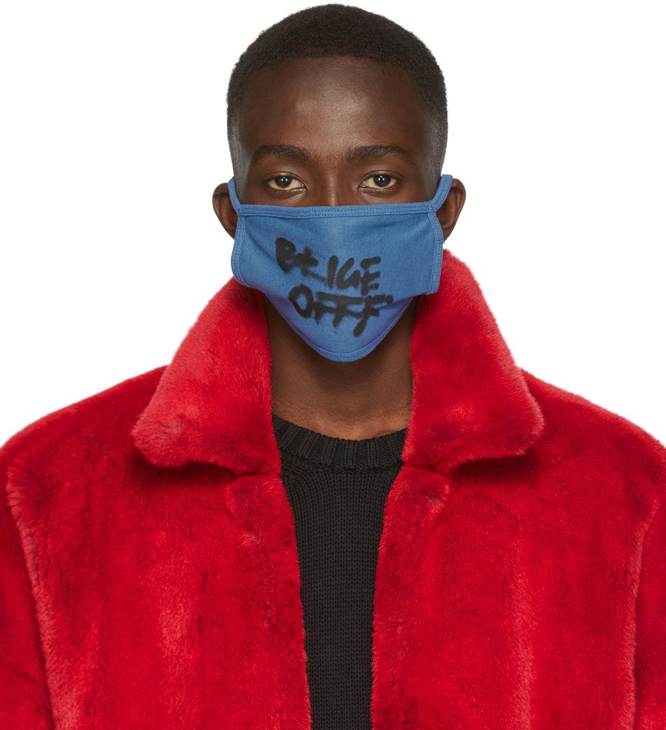 Off-White Accessories Blue Spray Typo Mask