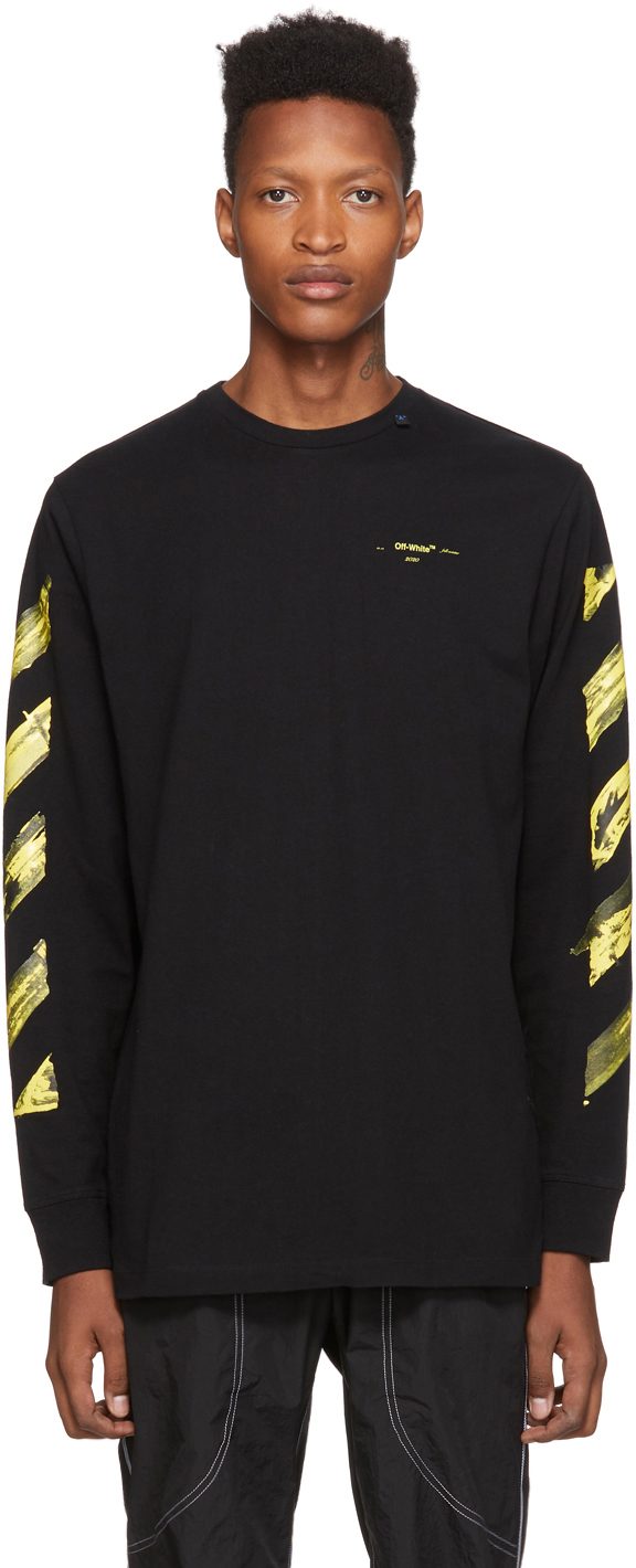 Off-White T-shirts SSENSE Exclusive Black & Yellow Painted Arrows Long Sleeve T-Shirt