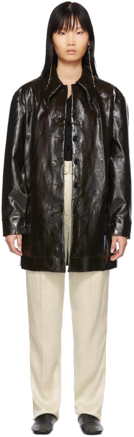 Lemaire Coats Brown Maxi Shirt Coat