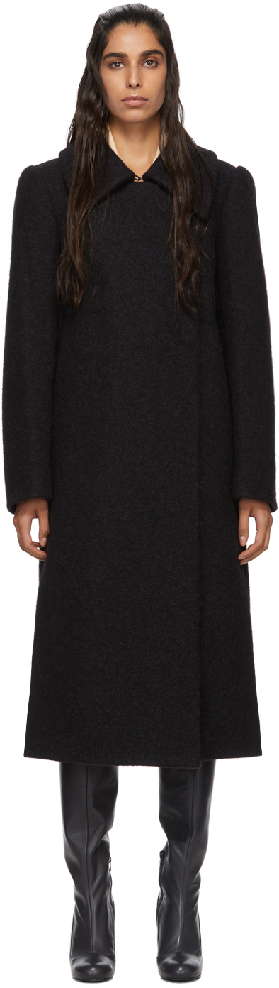 Lemaire Coats Black Wool & Mohair Fitted Coat