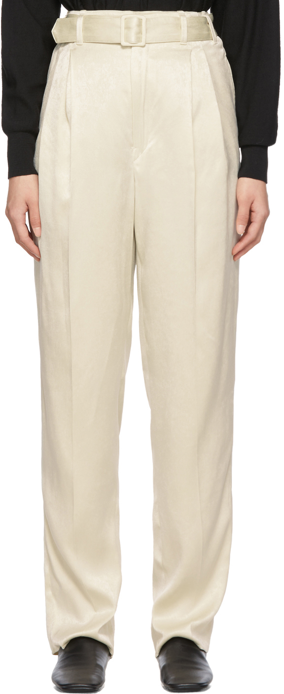 Lemaire Pants Off-White Pleated Pants