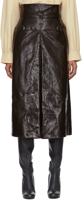 Lemaire Coats Brown Coated Linen Canvas Apron Skirt