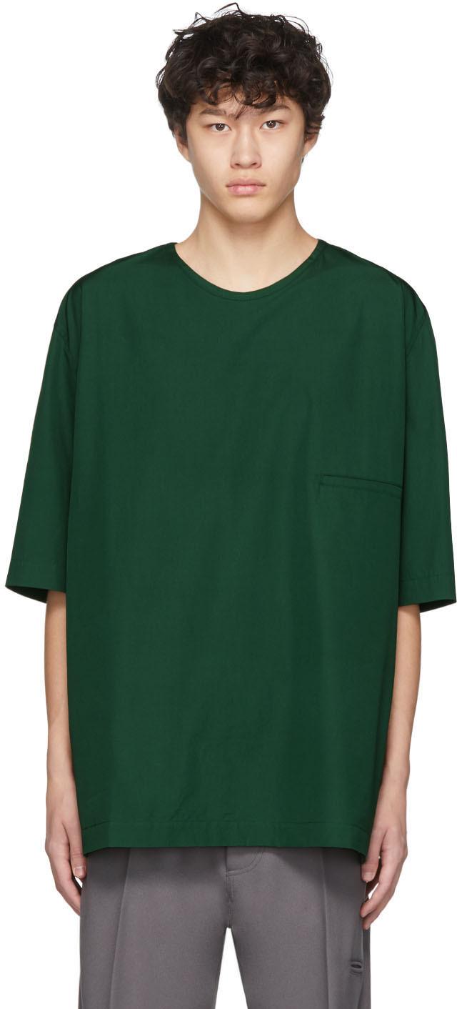 Lemaire T-shirts Green Cotton T-Shirt