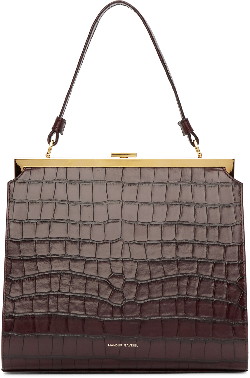 Mansur Gavriel Accessories Burgundy Croc Elegant Bag
