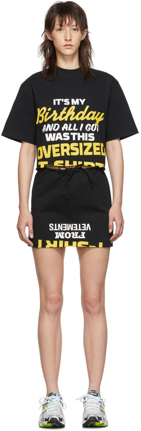 Vetements Dress Black 'Happy Birthday' T-Shirt Dress Set