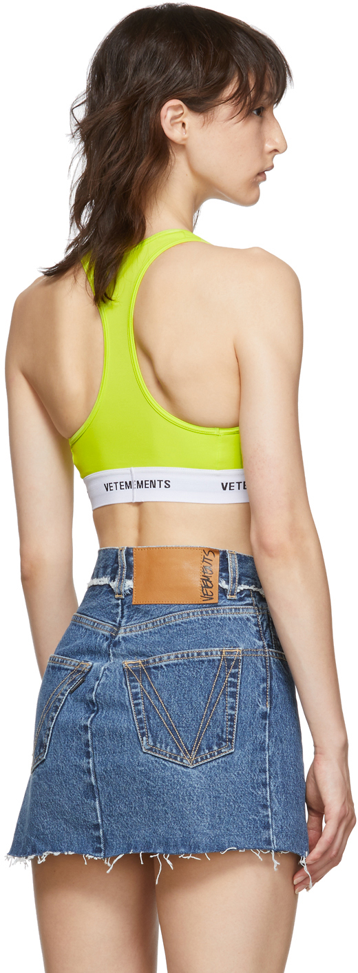 Vetements Accessories Yellow Logo Band Sports Bra
