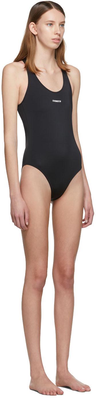 Vetements Beachwear Black Logo Baywatch One-Piece Swimsuit