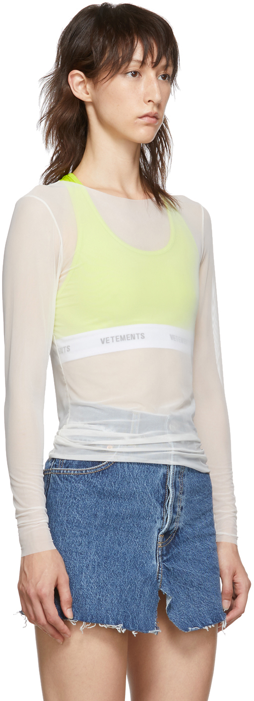 Vetements T-shirts White Logo Transparent Long Sleeve T-Shirt