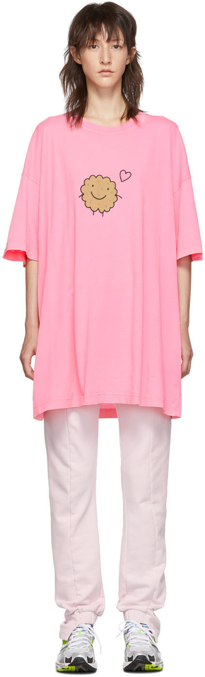 Vetements Shirts Two-Pack Pink Milk Cookie Couple T-Shirt