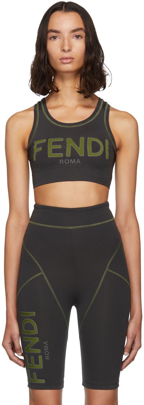 Fendi Grey Logo Sport Bra