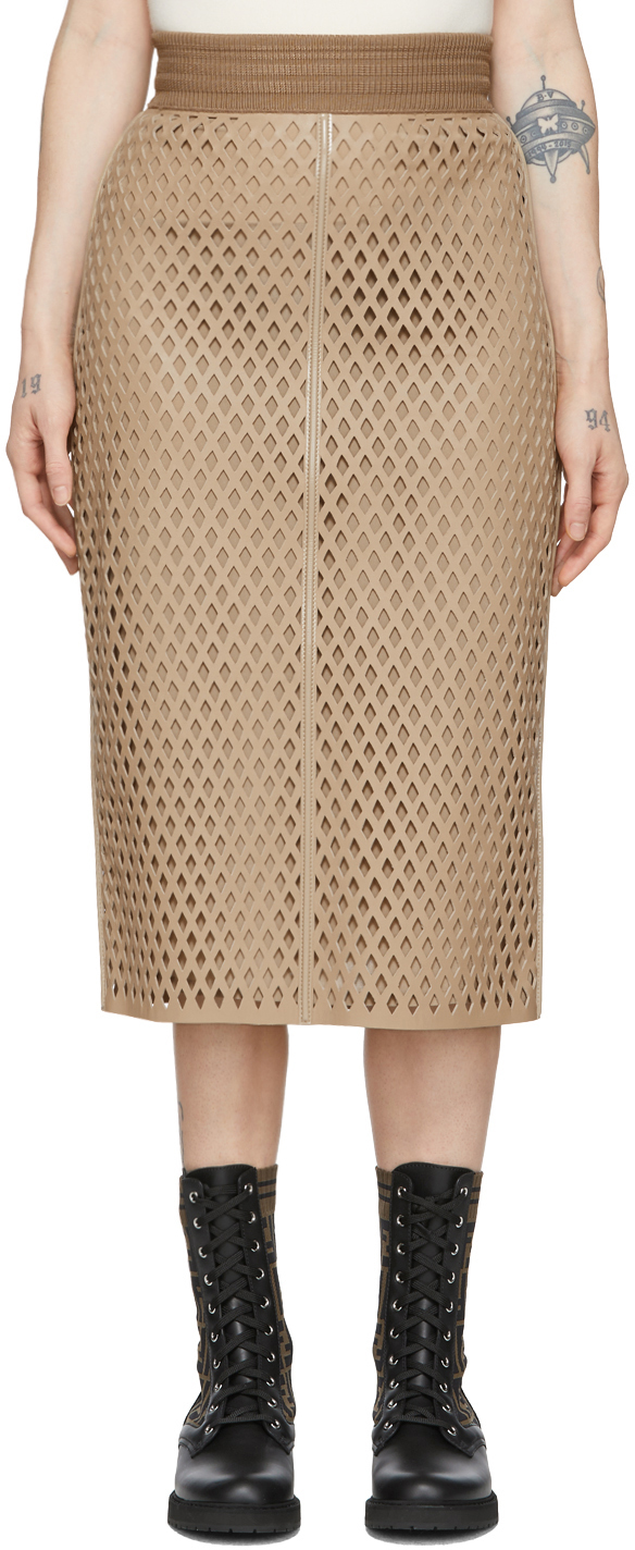 Fendi Skirts Beige Perforated Leather Skirt