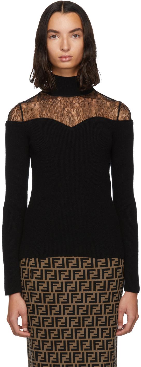 Fendi Tops Black Lace Knit Turtleneck