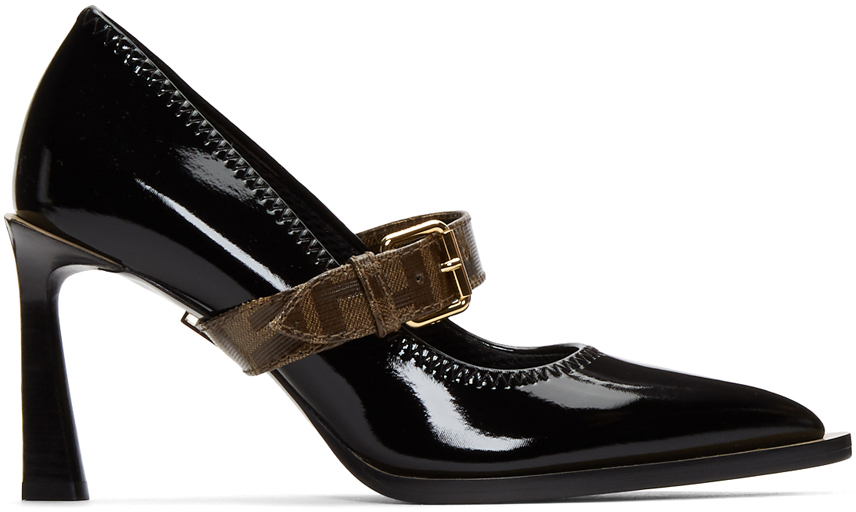 Fendi Shoes Black Glossy Mary Jane Heels