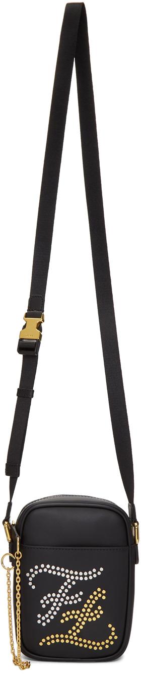 Fendi Accessories Black Small Studded Karl Messenger Bag