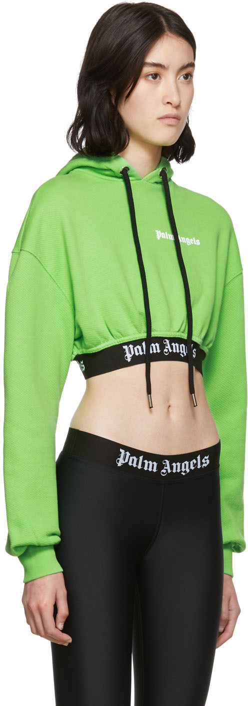 Palm Angels Accessories Green Cropped New Basic Hoodie