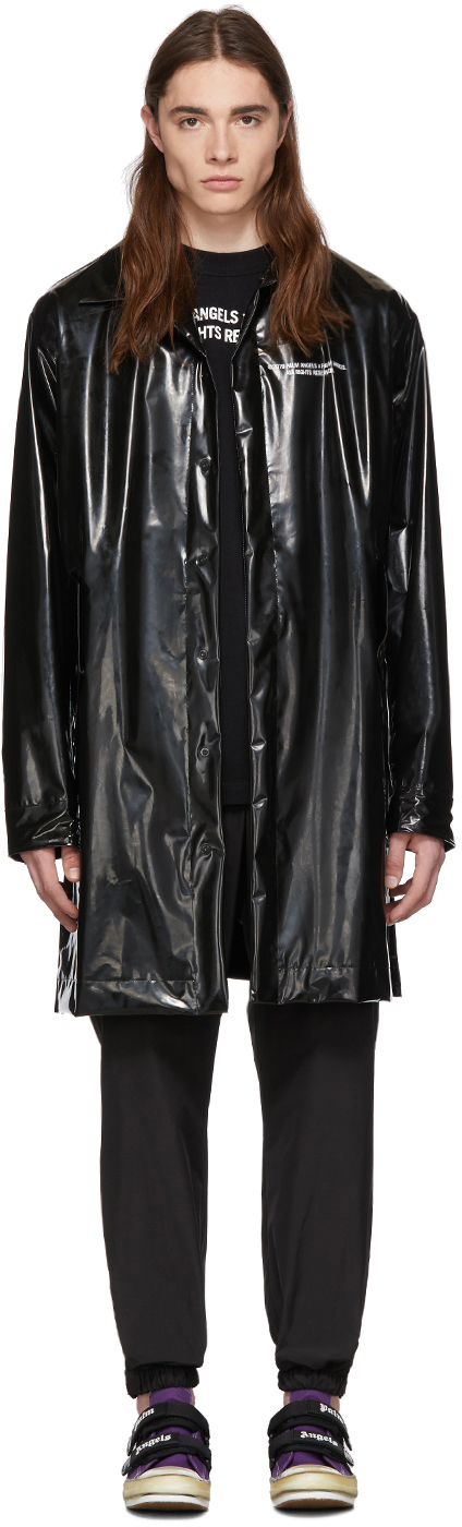 Palm Angels Coats Black 'Palm x Palm' Raincoat