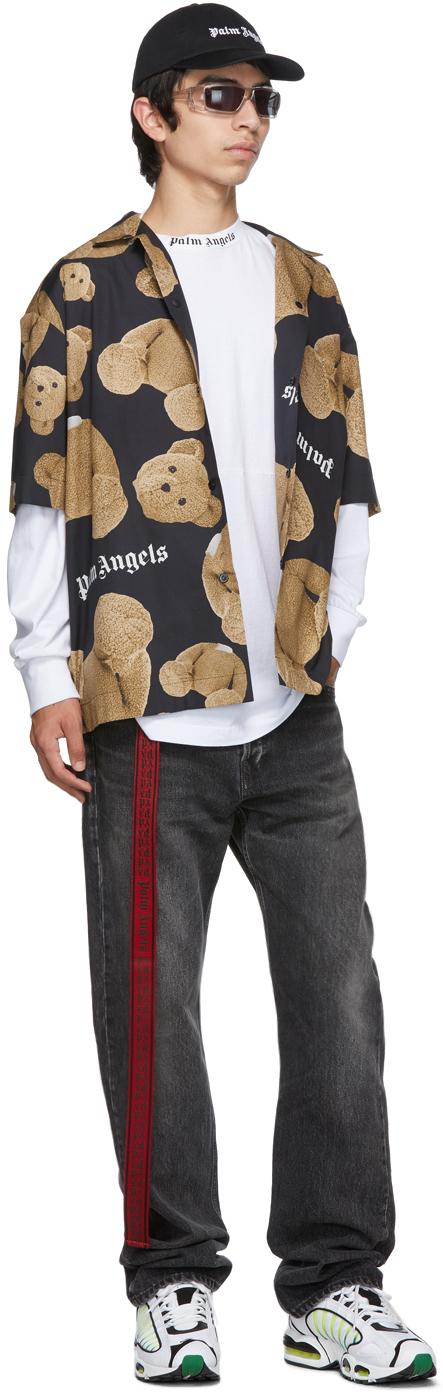 Palm Angels T-shirts Black & Brown Kill The Bear Bowling Shirt