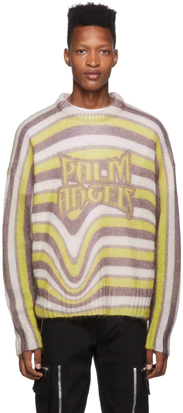 Palm Angels Jewelry Multicolor Melting Stripes Crewneck Sweater