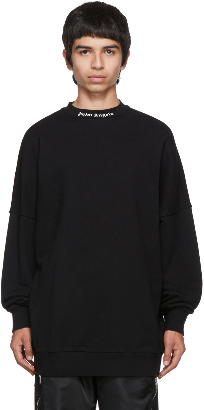 Palm Angels T-shirts Black Logo Sweatshirt