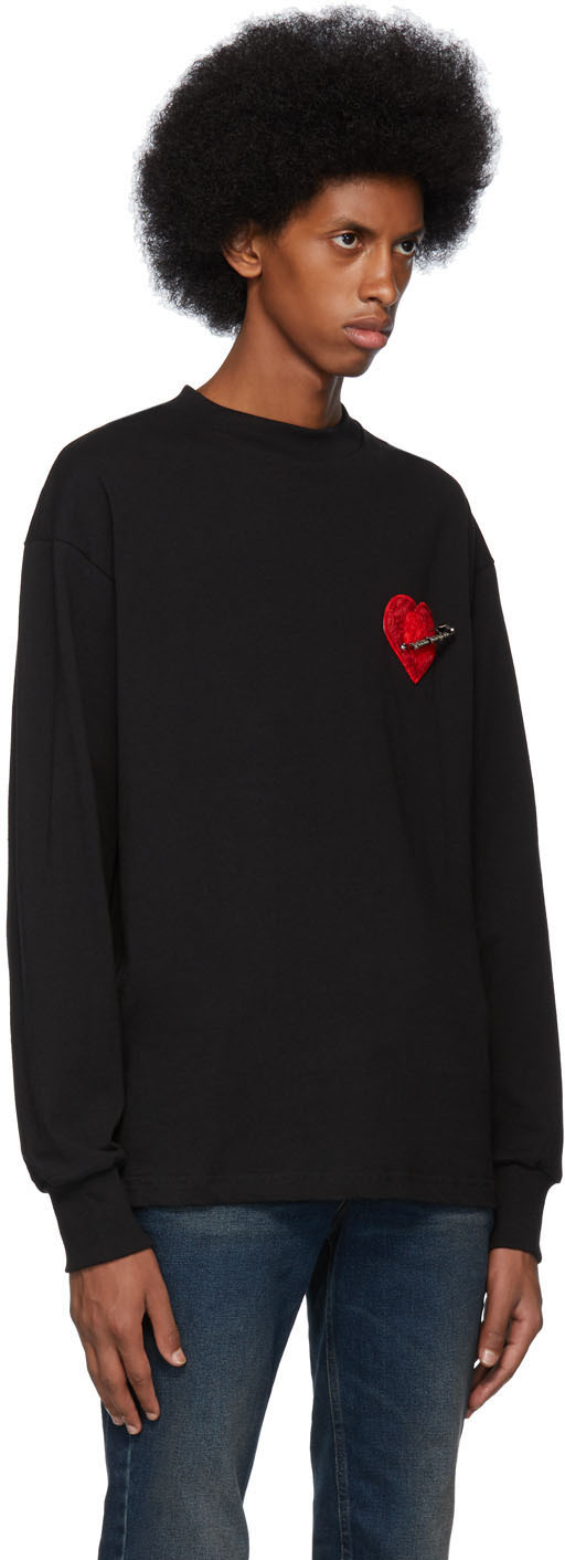 Palm Angels T-shirts Black Pin My Heart Long Sleeve T-Shirt