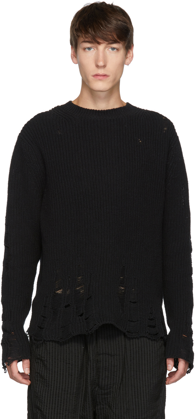 Song For The Mute Sweaters Black Oversized Distressed Sweater