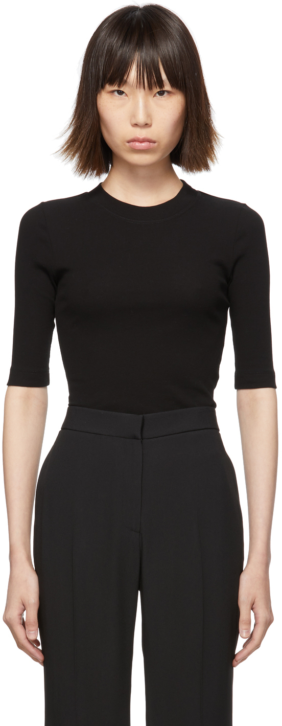 Rosetta Getty T-shirts Black Cropped T-Shirt