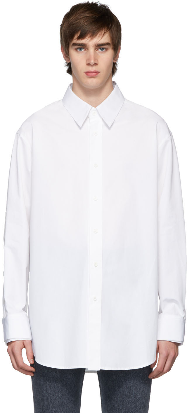 Wooyoungmi T-shirts White Button Detail Sleeves Shirt