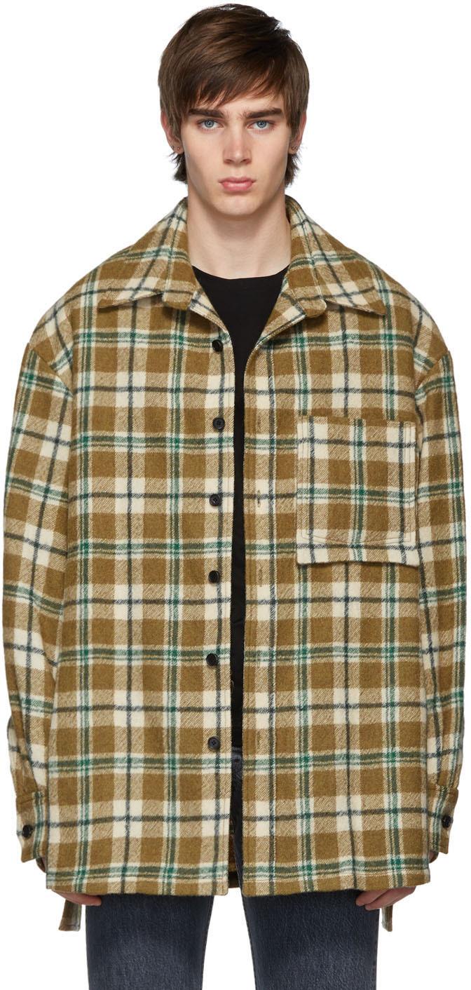 Wooyoungmi T-shirts Tan Flannel Oversized Shirt