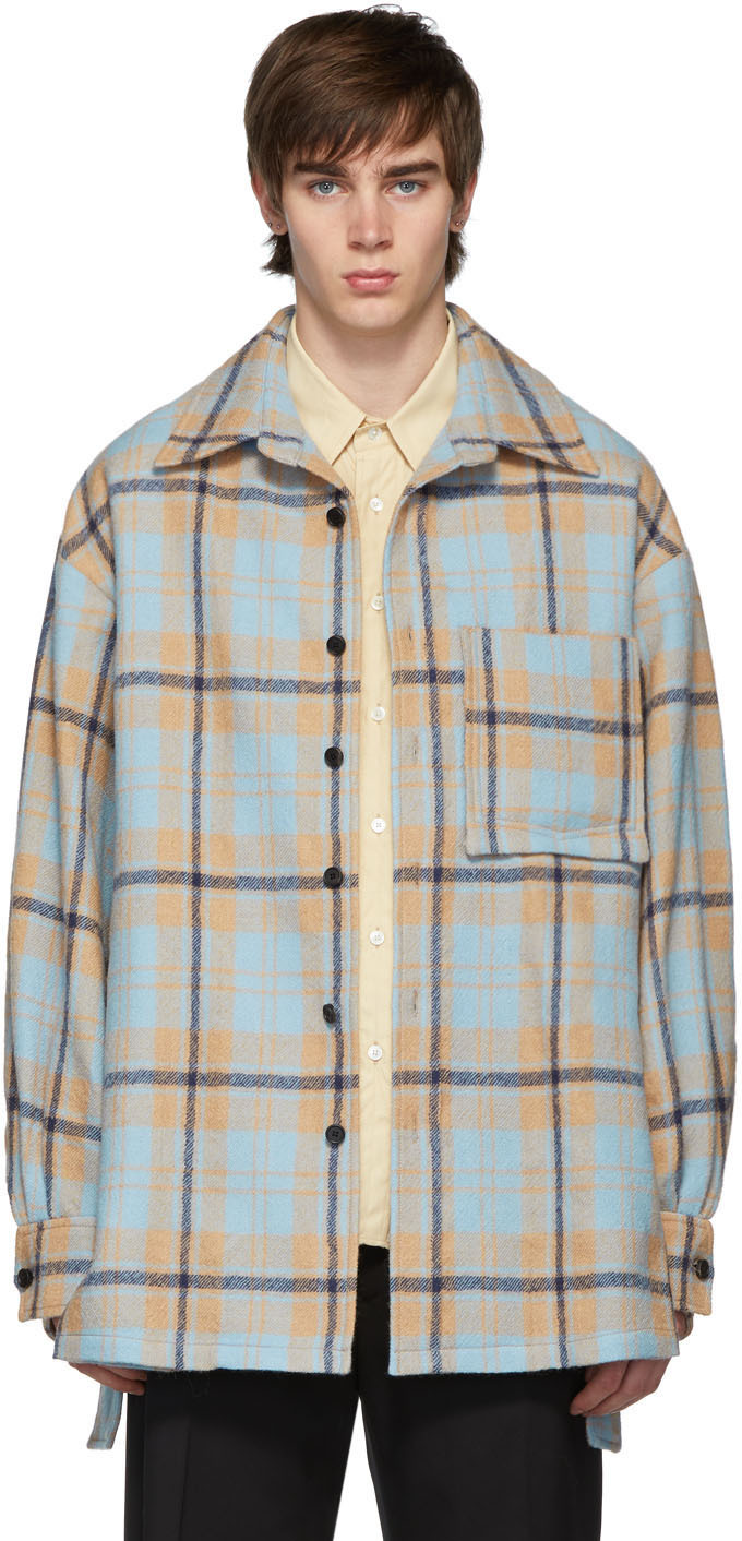 Wooyoungmi T-shirts Blue Flannel Oversized Shirt