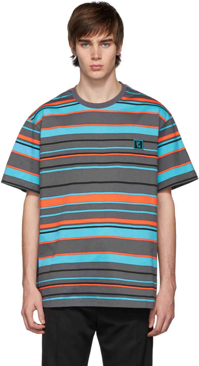 Wooyoungmi T-shirts Blue & Orange Stripe Logo T-Shirt