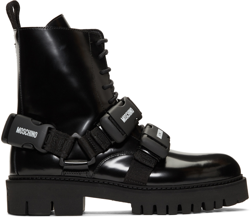 Moschino Boots Black Buckle Boots