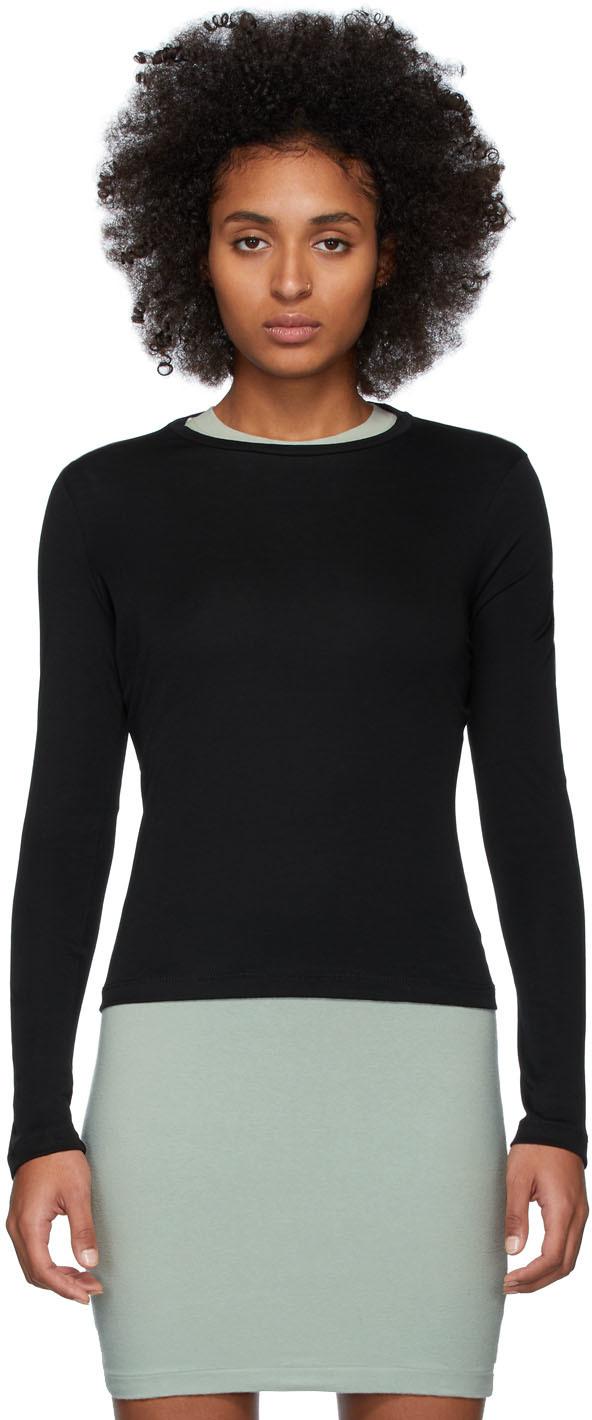 John Elliott T-shirts Black High Twist Cotton Classic Long Sleeve T-Shirt