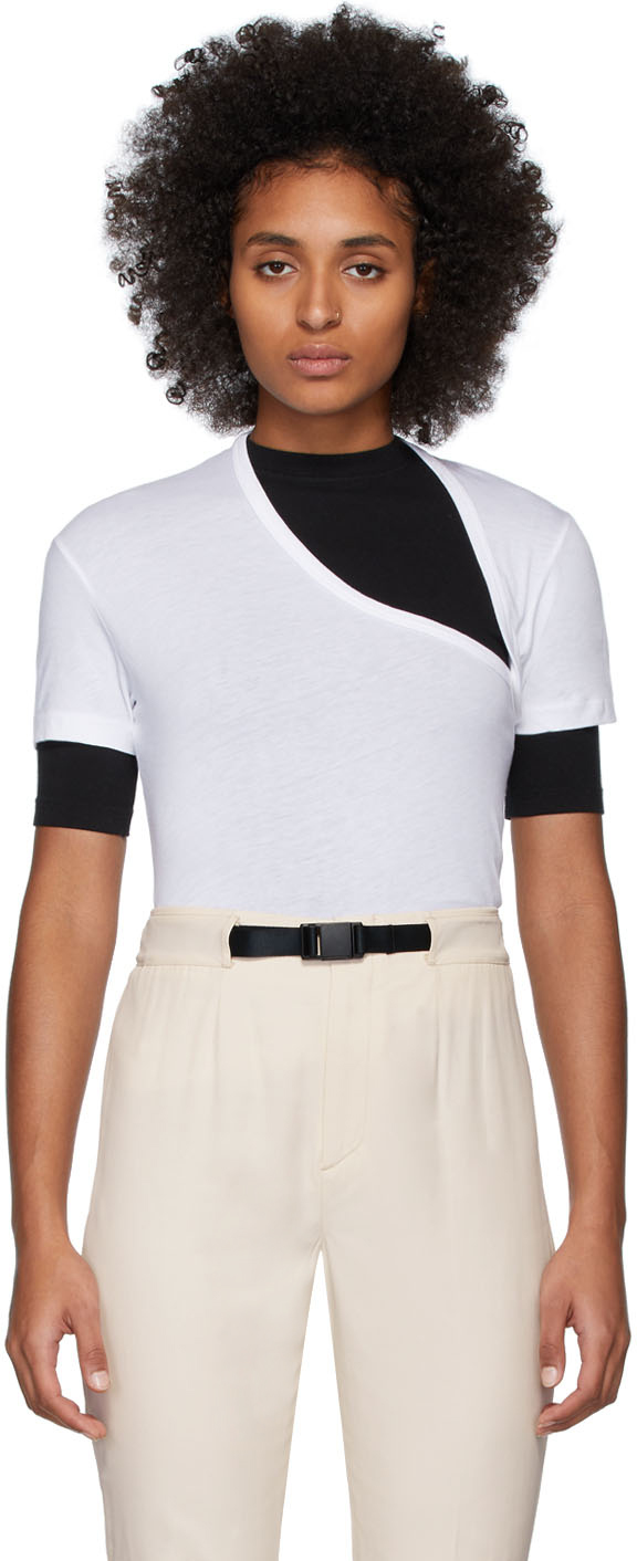 John Elliott T-shirts White Supima Asymmetric T-Shirt