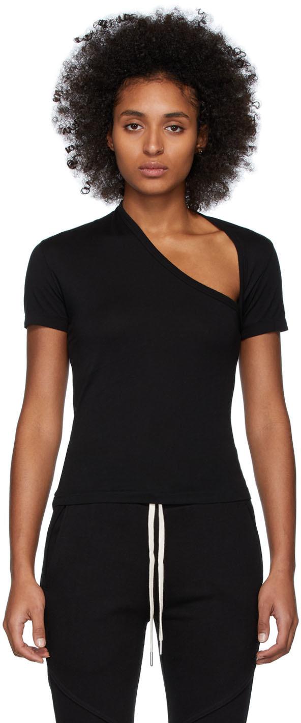 John Elliott T-shirts Black Supima Asymmetric T-Shirt