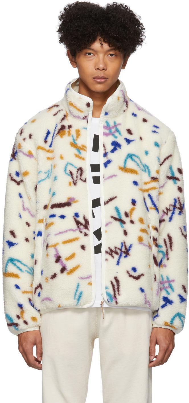 John Elliott Jackets Reversible White Polar Fleece Memphis Jacquard Zip-Up Jacket