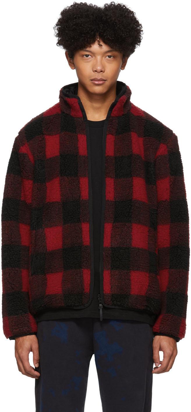 John Elliott Jackets Reversible Red & Black Polar Fleece Buffalo Check Zip Up Jacket