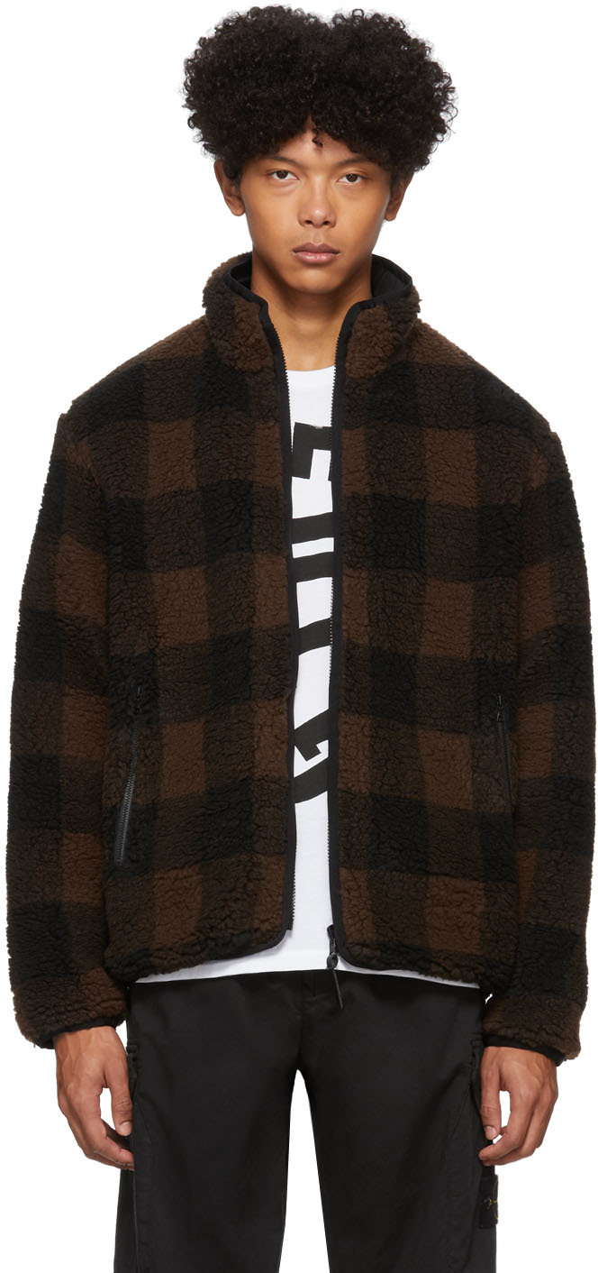 John Elliott Jackets Reversible Brown & Black Polar Fleece Buffalo Check Zip-Up Jacket