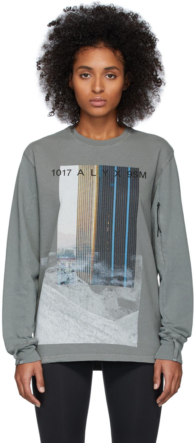 1017 Alyx 9sm T-shirts Grey Ex Nihilo City Mountain Sweatshirt