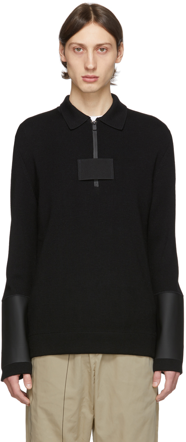 1017 Alyx 9sm Knits Black Knit Zip-Up Long Sleeve Polo