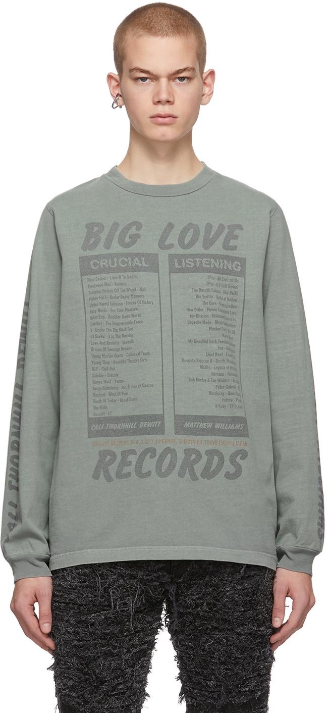 1017 Alyx 9sm T-shirts Green 'Big Love Records' Long Sleeve T-Shirt