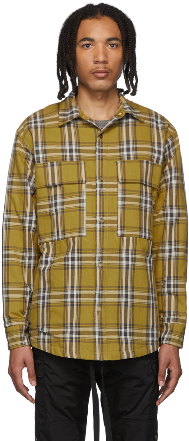 Fear Of God Jackets Yellow Flannel Plaid Shirt Jacket