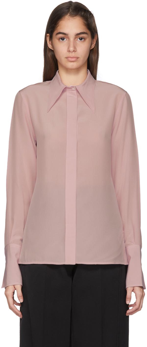 Victoria Beckham T-shirts Pink Elongated Collar Shirt