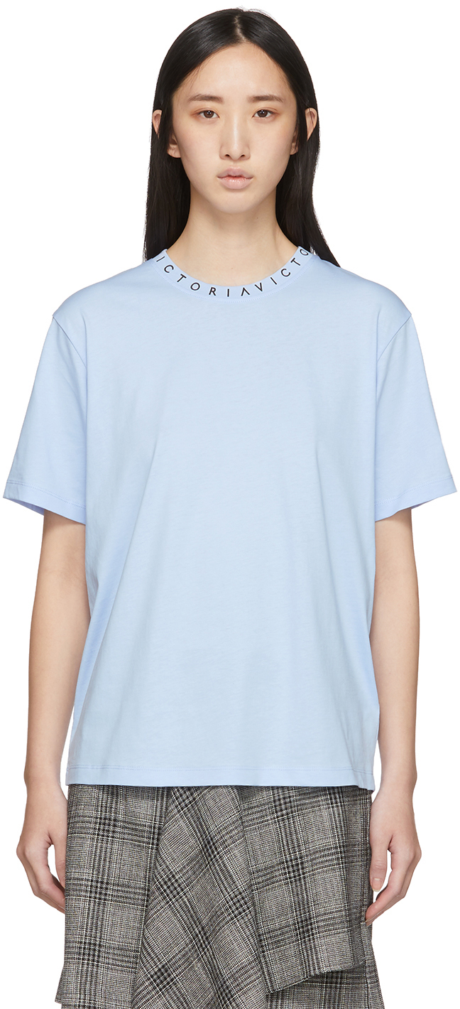 Victoria Victoria Beckham T-shirts Blue Logo Neck 'Victoria' T-Shirt