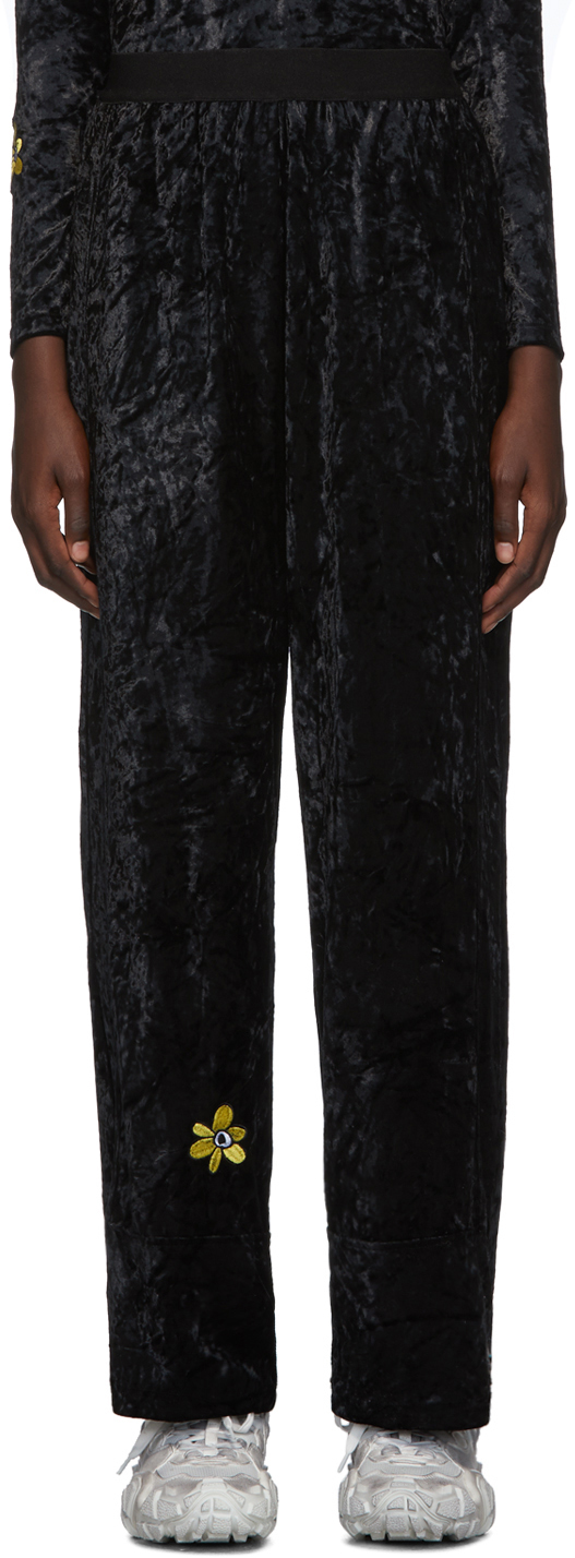 Perks And Mini Pants Black Velvet Flower Embroidery Lounge Pants
