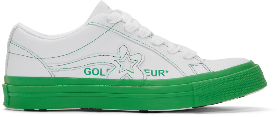 Converse Sneakers White & Green Golf le Fleur* One Star OX Sneakers