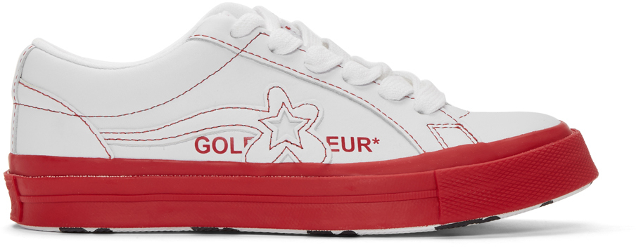 Converse Sneakers White & Red Golf le Fleur* One Star OX Sneakers